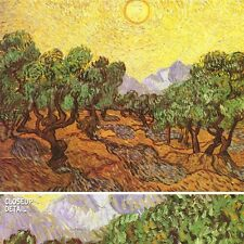 "48""x36"" OLIVE TREES WITH YELLOW SKY AND SUN by VINCENT VAN GOGH Repro CANVAS"