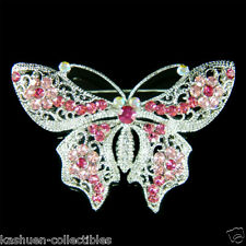 w Swarovski Crystal Rose ~Pink BUTTERFLY~ Sash Pin Brooch BRIDAL wedding Jewelry
