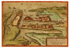 Valletta Malta Mediterranean Sea bird's-eye view map Braun Hogenberg ca.1572