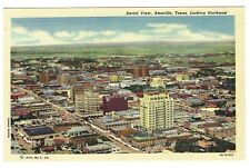 Aerial View of Amarillo Texas Looking Northeast Linen Postcard
