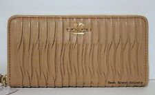 $248 COACH - Madison Gathered Leather Accordion Zip Wallet 53982E Beige - NWT!