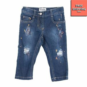 MAELIE Jeans Size 12M Ripped Faded Paint Splatter Button Adjustable Waist