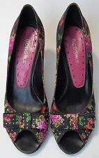 BCBGirls  BCBG Shoes Heels Peep Toe Bow Floral Womens Size 7B