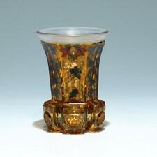 Biedermeier Becher mit Transparentemail und Gold- und Silberbemalung - um 1840