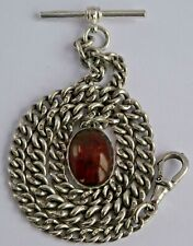 Fabulous antique solid sterling silver pocket watch albert chain & amber fob