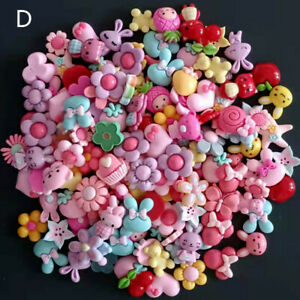 50pc Mixed Resin Animals Flowers Fruits Flatback Buttons for Crafts Decorations