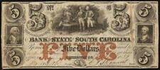 1859 $5 DOLLAR BILL SOUTH CAROLINA BANK NOTE LARGE CURRENCY OLD PAPER MONEY