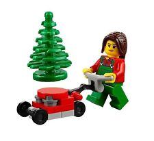LEGO LAWN MOWER MINIFIGURE CITY Landscaper Gardener Pine Tree Female Girl