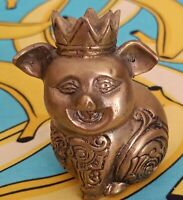 Vintage Brass King Pig Javanese Sculpture 3 Inch High