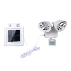 White Solar Powered Motion Sensor Light 22 SMD LED Garage Waterproof Outdoor