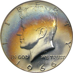 1966 SMS 50C NGC MS66* (NGC STAR) 40% SILVER KENNEDY ~ WILD RAINBOW OBVERSE!