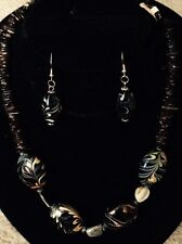 "Black and Gold Gemstone Necklace and Earring Set 19 1/2"" with extender"