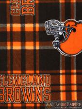 NFL Cleveland Browns Plaid Licensed Fleece Fabric NL-NFL-32-OT