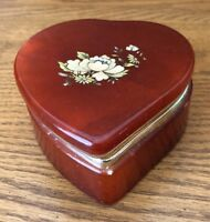 Vtg Alabaster Vanity POWDER JAR Trinket Box Floral Lid Hinged Italy EUC
