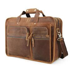 """Vintage Men Leather Briefcase Work Overnight 17"""" Laptop Messenger Bag Travel Bag"""