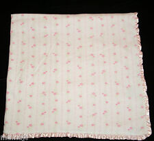 Mary Engelbreit Pink Flower Baby Blanket Rose Rosebuds Satin Ruffle EXC COND