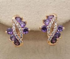 18K Gold Filled - Gems Amethyst Topaz Mouth Swirl Hollow Pageant Women Earrings