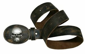 Gürtel Trachtengürtel f. Lederhose Ledergürtel braun Leder Biker Totenkopf Skull