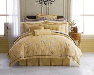 Court of Versailles Gravure Gold / Taupe Queen Duvet Cover $324 NIP