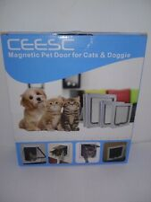 Ceesc Pet Flap Door Magnetic w 4 Way Lock for Cats and Dogs - White Xl open box