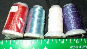 4  Spools YLI Thread New Pearl Fine Metallic Sewing Embroidery Bernina Rayon