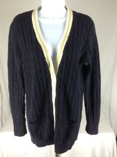 Ralph Lauren Sport~L~Cable Knit Button Cardigan Tennis Sweater V-Neck Navy Blue