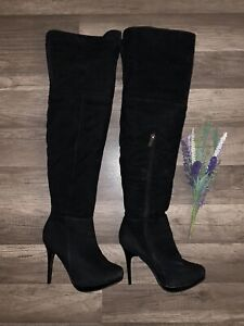 Women's Faux Suede Pointed Toe Thigh High Stiletto Heel Boot Size 6 1/2