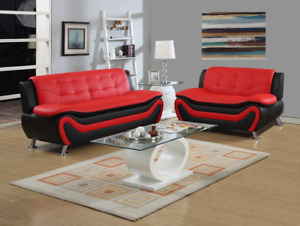 NEW Sofa Loveseat Set Black Red Leather Gel 2PC Modern Living Room Furniture