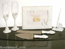 Two Hearts Become One Wedding Guest Book Pen Flutes Cake Server Set