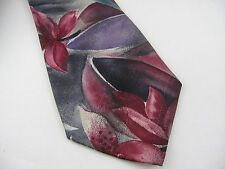 Vintage Men's Tie: Red Pink Flowers by Towncraft