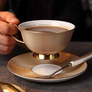 200ml Gold Bone Tea Cup Saucer Spoon Set Ceramic Coffee Cup Porcelain Teacup