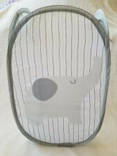 Kids Laundry Clothes Basket Toy Mesh Gray Basket Storage Foldable Bag