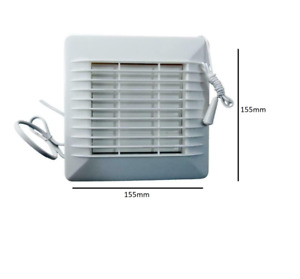 """Bathroom Extractor Fan 4"""" / 100 mm with Pull Cord and Shutter Window Mount Range"""