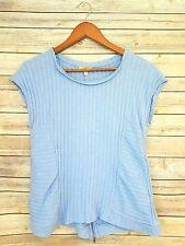 Anthropologie Top Bordeaux Medium Shirt 8 10 Blue Ribbed Swing Tee Zippers