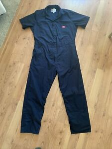 DICKIES Workwear S/S Cotton Work Coveralls Jumpsuit Mens Size L large Blue