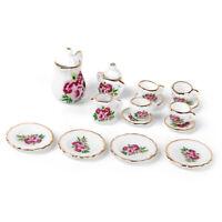 15 pieces Porcelain tea set Dollhouse miniature foods Chinese rose dishes c B3J7