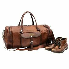 women's Vintage Brown Genuine Leather Luggage Duffle Gym Overnight Weekend Bag