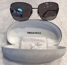 *NEW!* Authentic Emilio Pucci EP 128S 015 120 Black/Gray Aviator Sunglasses 59mm