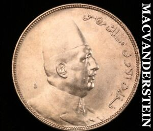 Egypt: 1923 Silver  Ten Piastres-Scarce High Grade  Luster #B7230