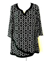 WOMEN'S ALLISON DALEY BLACK WHITE ENTWINED CIRCLES 3/4 SLEEVE TUNIC TOP SIZE L