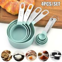 4Pcs Stainless Measuring Spoons And Cup Kitchen Utensil Cooking Baking Tool Set