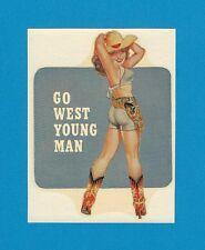"VINTAGE ORIGINAL 1948 ""GO WEST YOUNG MAN"" HOT RAT ROD PINUP WATER DECAL ART MINT"