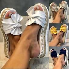 Women Bow Knot Slippers Platform Espadrilles Slides Mules Beach Flat Shoes Size