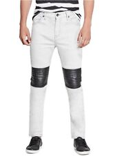 G By Guess Men's Rue Paneled Modern Skinny Jeans White Stretch Denim Size 30X32