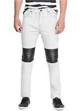 G By Guess Men's Rue Paneled Modern Skinny Jeans White Stretch Denim Size 36