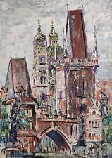 Monogrammé H J W ? - Paysage Urbain Avec Porte Et Église