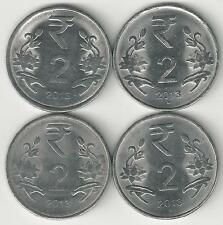 4 DIFFERENT 2 RUPEE COINS from INDIA (ALL 2013 with MINT MARKS of B/C/H/N)