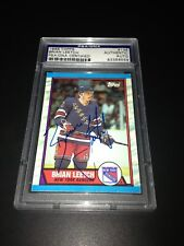 Brian Leetch Signed 1989-90 Topps Rookie Card NY Rangers PSA Slabbed #83356559