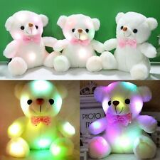 Xmas LED Light White Teddy Bear Stuffed Kids Birthday Christmas Gift Plus Toy HX