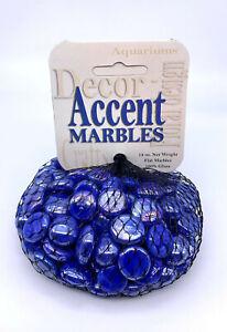 "Mega Marbles 1/2"" Round Electric Blue Mosaic Flat Glass Gems 12oz Net Bag Vacor"